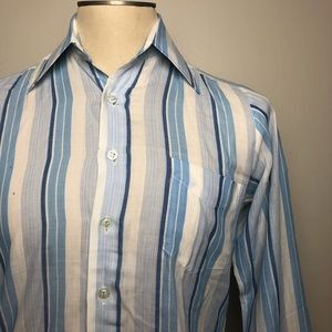 Other - Vintage 1970s Large Collar Blue Striped Buttondown